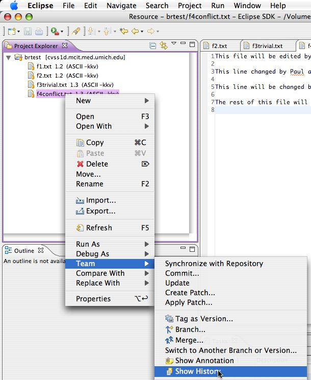 how to create branch in cvs using eclipse