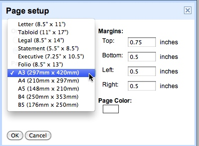 how to change the document size in google docs