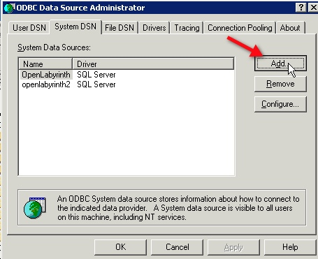 How to set up an ODBC Data Source for a SQL Server database