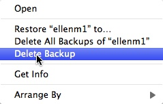 deleting time machine backups