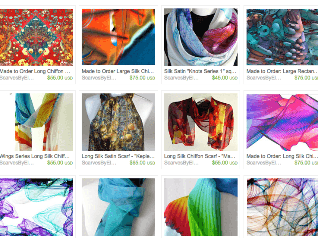 My Mandelbulb 3D and Flamepainter designs now available as scarves on Etsy